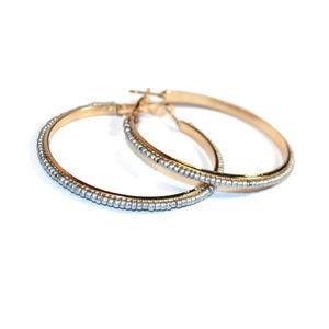Gold Hoop Earrings Silver Seed Bead Earrings